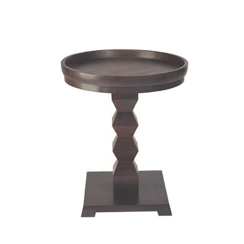 Access Designer Decor 3B-1023 Tikal Zig-Zag Transitional Ash Pedestal Accent With Tray - Deep Mahogany 22in Diameter