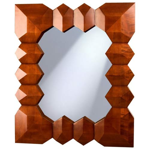Access Designer Decor 3M-1023-3D Tikal 3-D Diamond Sculpted Solid Ash Mirror - Deep Mahogany
