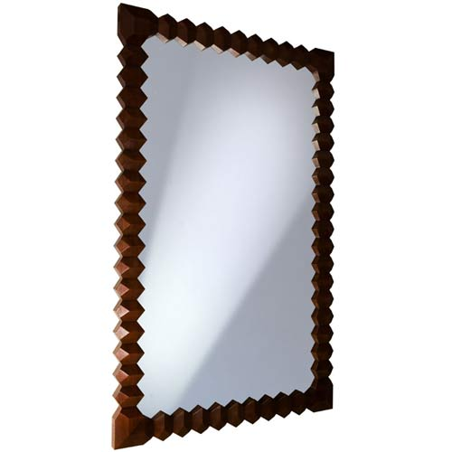 Access Designer Decor 3M-1020-3DL Tikal Large 3-D Diamond Sculpted Solid Ash Mirror - Deep Mahogany