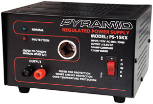PYRAMID PS15KX 10-Amp  13.8V Power Supply with Cigarette Lighter Adapter