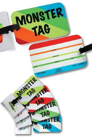 A. Saks AE-00-3 Monster ID Tag - Green and White