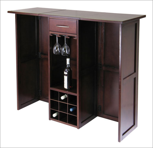 Winsome 94350 Newport Wine Bar Expandable Counter - Walnut