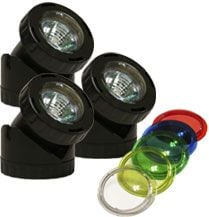 Alpine Corp PLM310 Power Beam Set of 3 10 Watt Lights Only 23 Ft Cord with color lenses with 20 FT extention