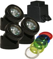 Alpine Corp PLM320T Power Beam Set of 3 20 Watt Lights with transformer 23 Ft Cord with color lenses with 20FT extention