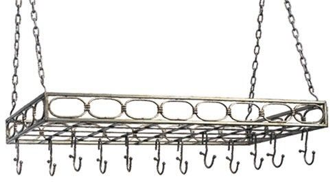 Old Dutch 36 x 17.3 x 3.3 Antique Pewter Rect Pot Rack with 16 Hooks - 105PW