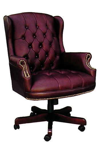 Boss High Back Button Tufted Oxblood Vinyl Executive Chair - B800 - Oxblood Vinyl