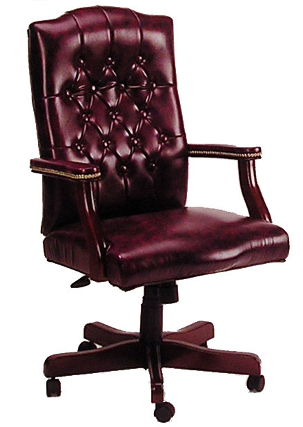Boss High Back Button Tufted Executive Mahogany Wood Finish Chair - B905 - Black Caresoft Vinyl