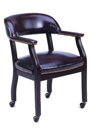 Boss Captains Arm Chair With Casters - B9545 - Black Vinyl