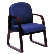 Boss Mahogany Wood Reception Chair - B9570 - Blue