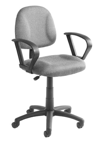 Boss B317-GY Grey Fabric Office Task Chair with Built-In Lumbar Support