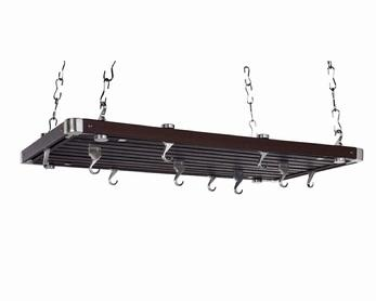 Concept Housewares PR-49232 Rectangular Ceiling Pot Rack - Espresso Wood 36 Inch x 18 Inch