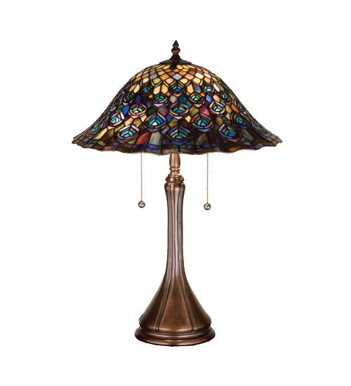 Meyda Tiffany 14574 22 Inch H Tiffany Peacock Feather Table Lamp