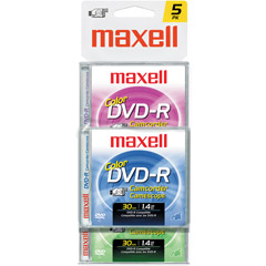 Maxell DVD-RCAMCOLOR/5 Color Write-Once DVD-R for DVD Camcorders