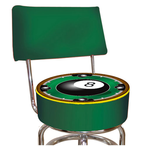 Rack em 8-Ball Padded Bar Stool with Back