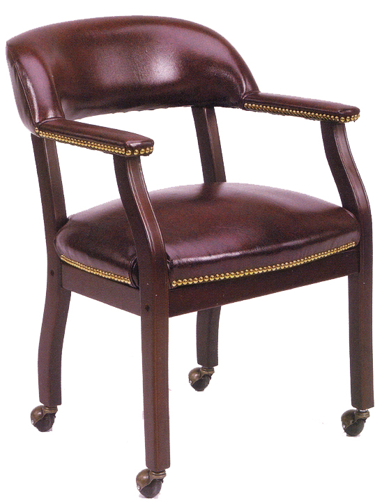 Boss Captains Arm Chair With Casters - B9545 - Oxblood Vinyl