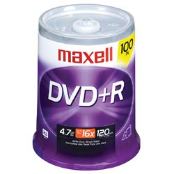 MAXELL 639016 4.7 GB DVD+R 100-ct spindle