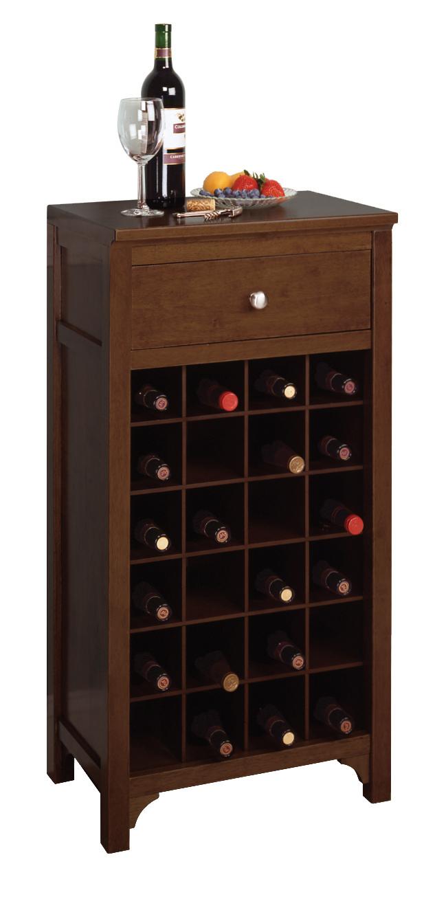 - Winsome 94638 Antique Walnut Beechwood WINE CABINET 24 BOTTLES