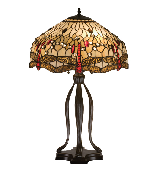 Meyda Tiffany 17500 30.5 Inch H Tiffany Scarlet Dragonfly Table Lamp