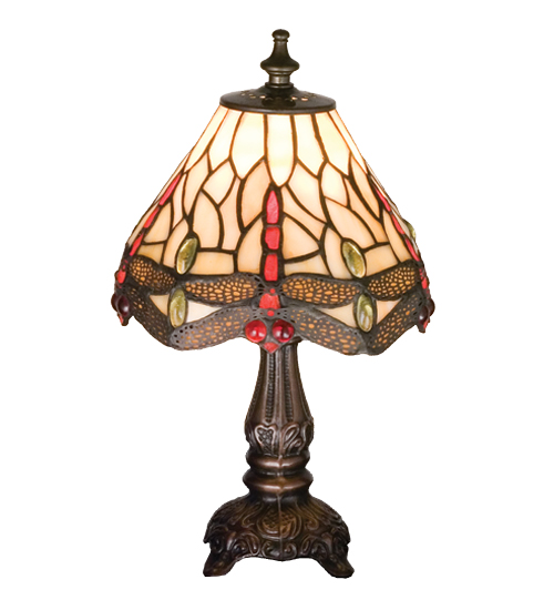 Meyda Tiffany 17525 11.5 Inch H Tiffany Scarlet Dragonfly Mini Lamp