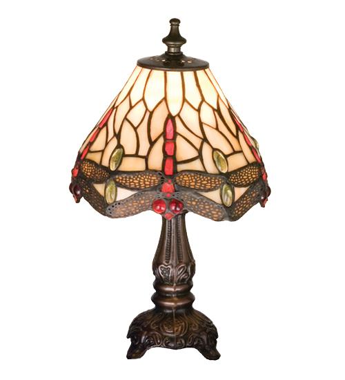 Meyda Tiffany 17525 11.5 Inch H Tiffany Scarlet Dragonfly Mini Lamp