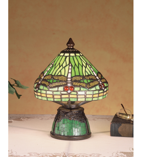 Meyda Tiffany 47609 10.5 Inch H Mosaic Dragonfly Mini Lamp