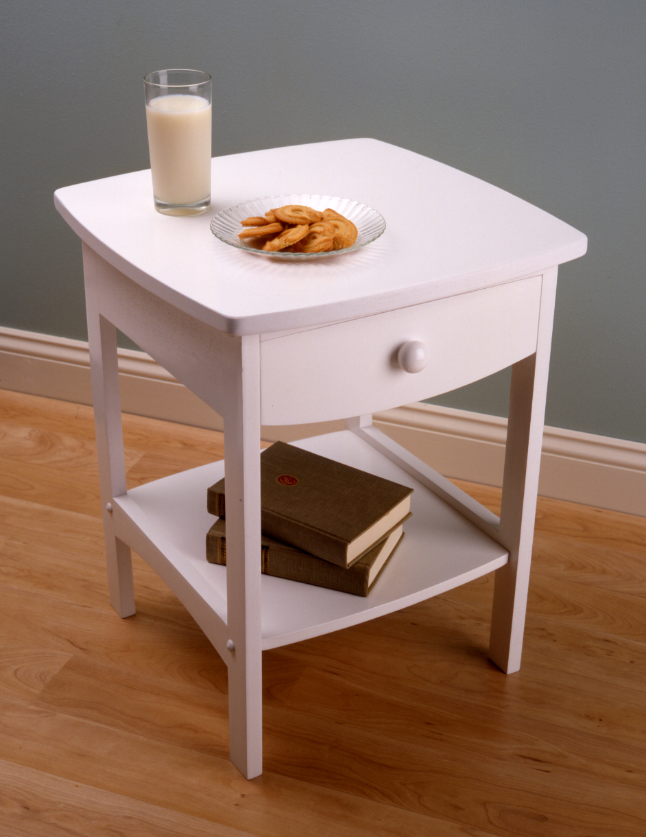Winsome 10218 White Beechwood END TABLE/NIGHT STAND WITH ONE DRAWER