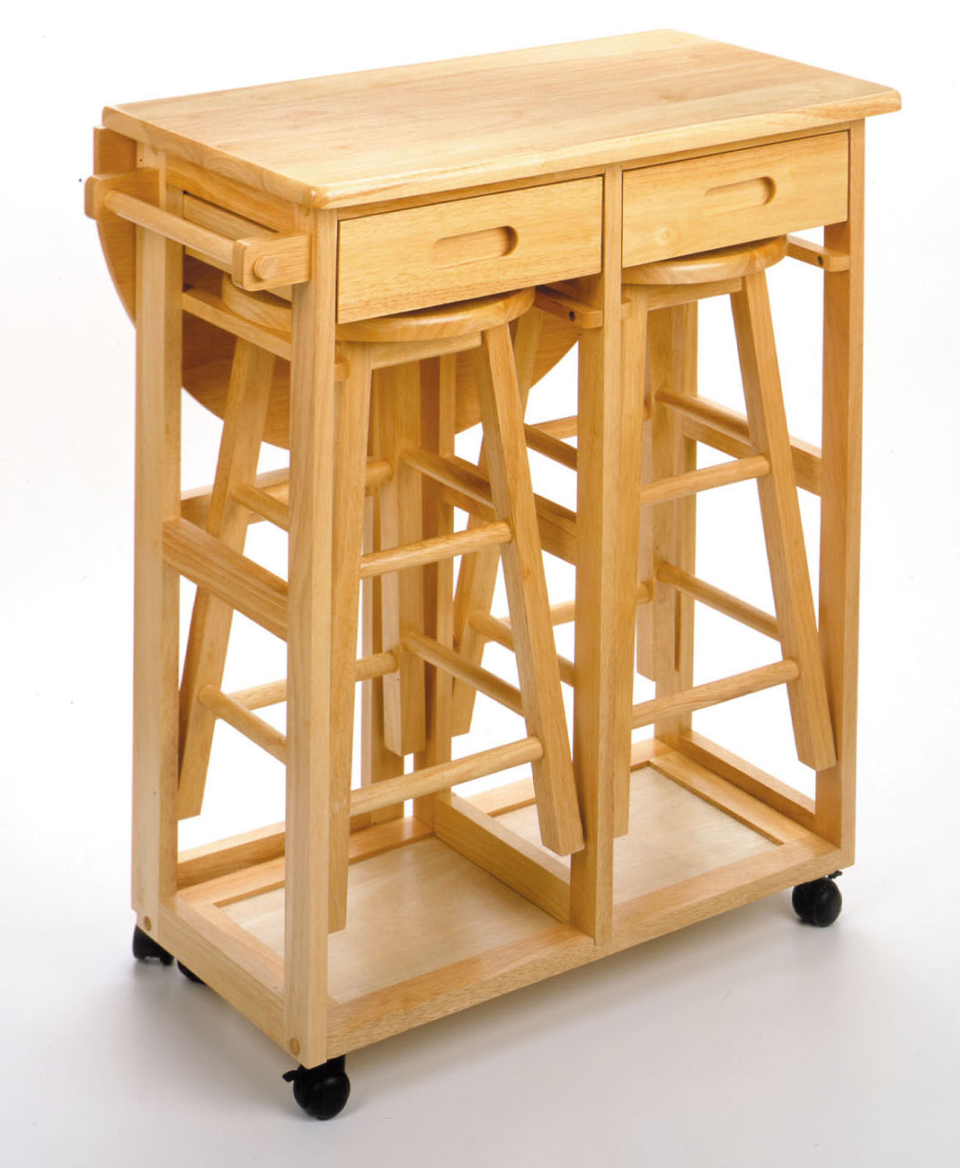 Winsome 89332 Beech Beechwood TABLE DROP LEAF 2 RD STOOL 2 DRAWERS