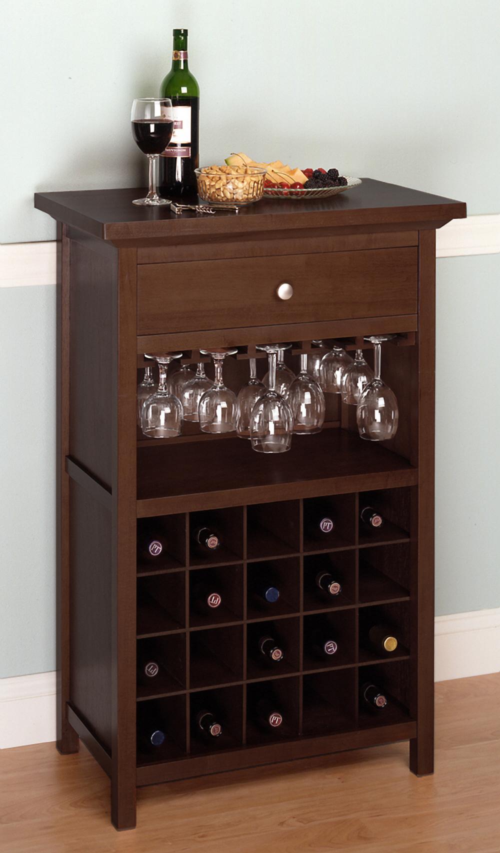 Winsome 94441 Walnut Beechwood WINE CABINET GLASS 20 BTL
