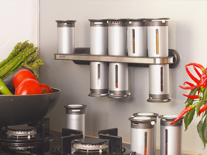Zevro MSR1400 Zero Gravity Magnetic Spice Rack (12 silver canisters)
