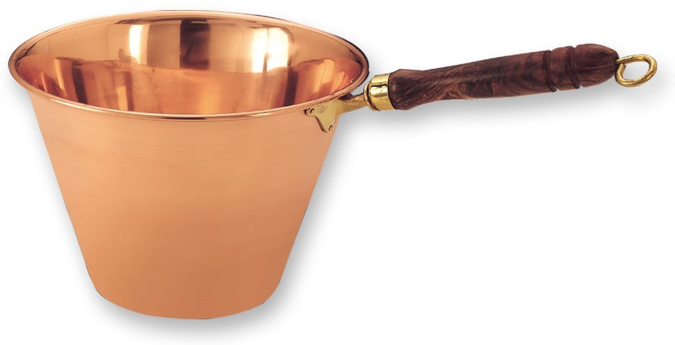 Old Dutch International 760 16.75 Inch x 10 Inch Solid Copper Polenta Pan with Wooden Handle 5Qt
