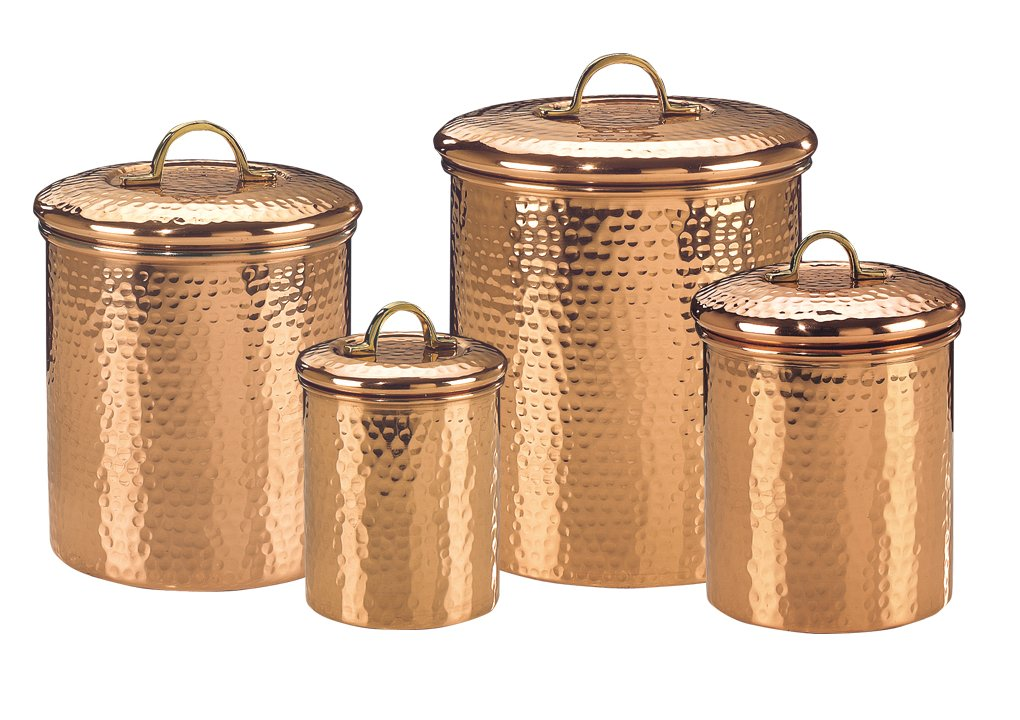 Old Dutch International 843 Set of 4 Solid Copper Hammered Canisters 4Qt 2Qt 1.5Qt 1Qt