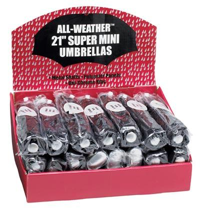 All Weather 24pc Set of Black Umbrellas in Display Box