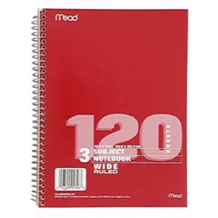 Mead Products Mea05746 Notebook Spiral 3 Subject 10.5 Inch X 8 Inch 120 Ct