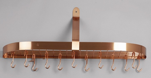 Old Dutch International 121CP 36 x 9 x 11.25 Satin Copper Wall Pot Rack with 12 Hooks