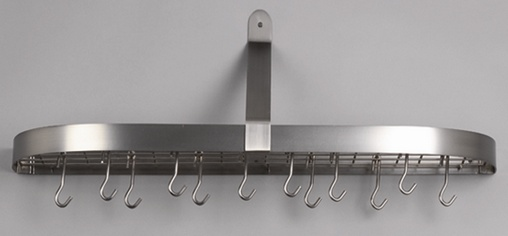 Old Dutch International 121SN 36 x 9 x 11.25 Satin Nickel Wall Pot Rack with 12 Hooks
