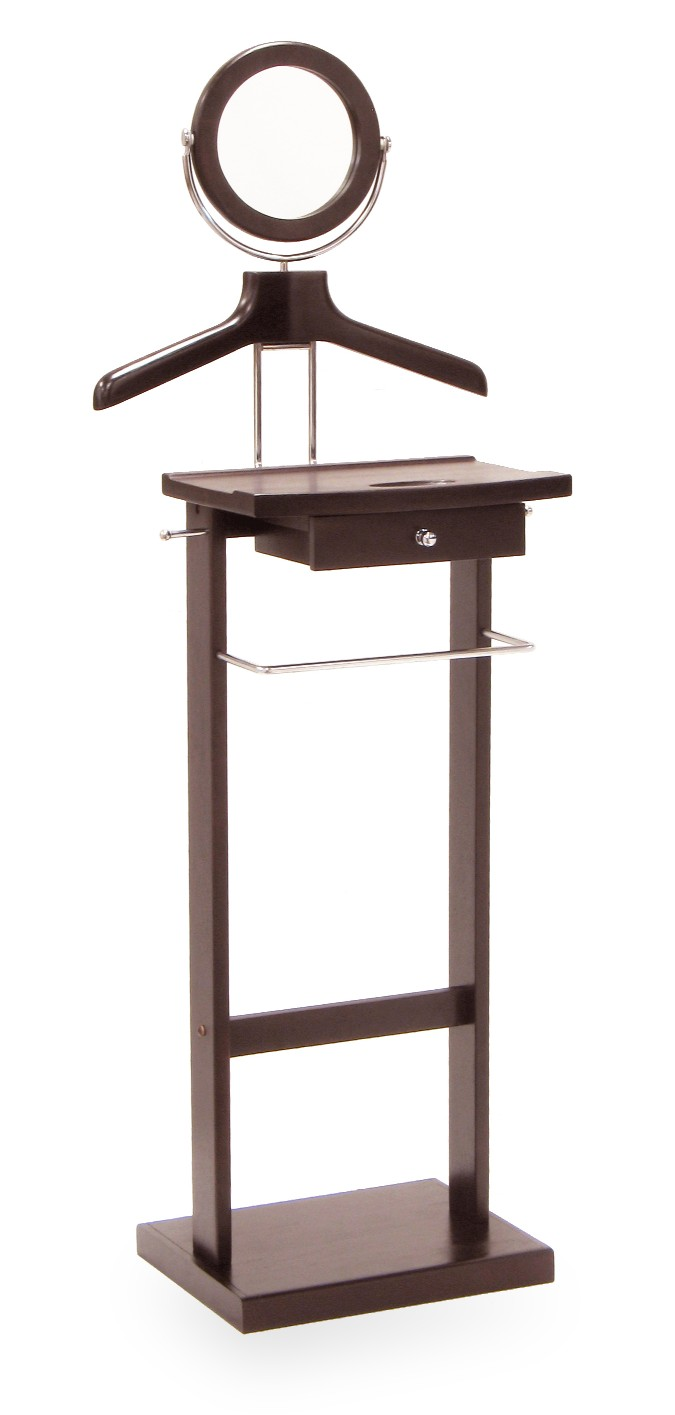 Winsome 92155 Espresso Beechwood VALET STAND WITH MIRROR COAT & PANT RACKS SOLID BASE