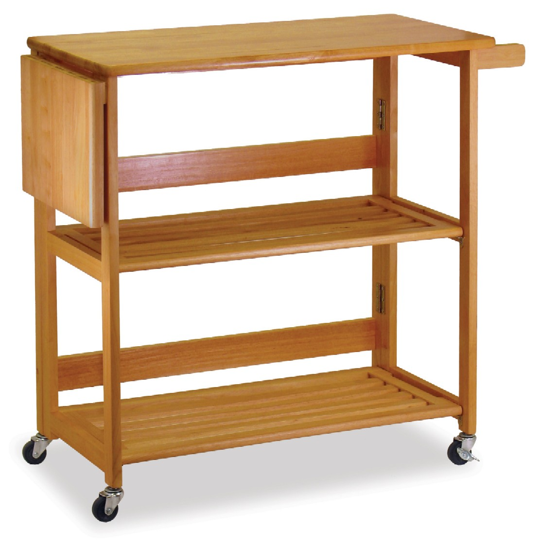 Winsome 34137 Light Oak Beechwood FOLDABLE KITCHEN CART WITH KNIFE BLOCK