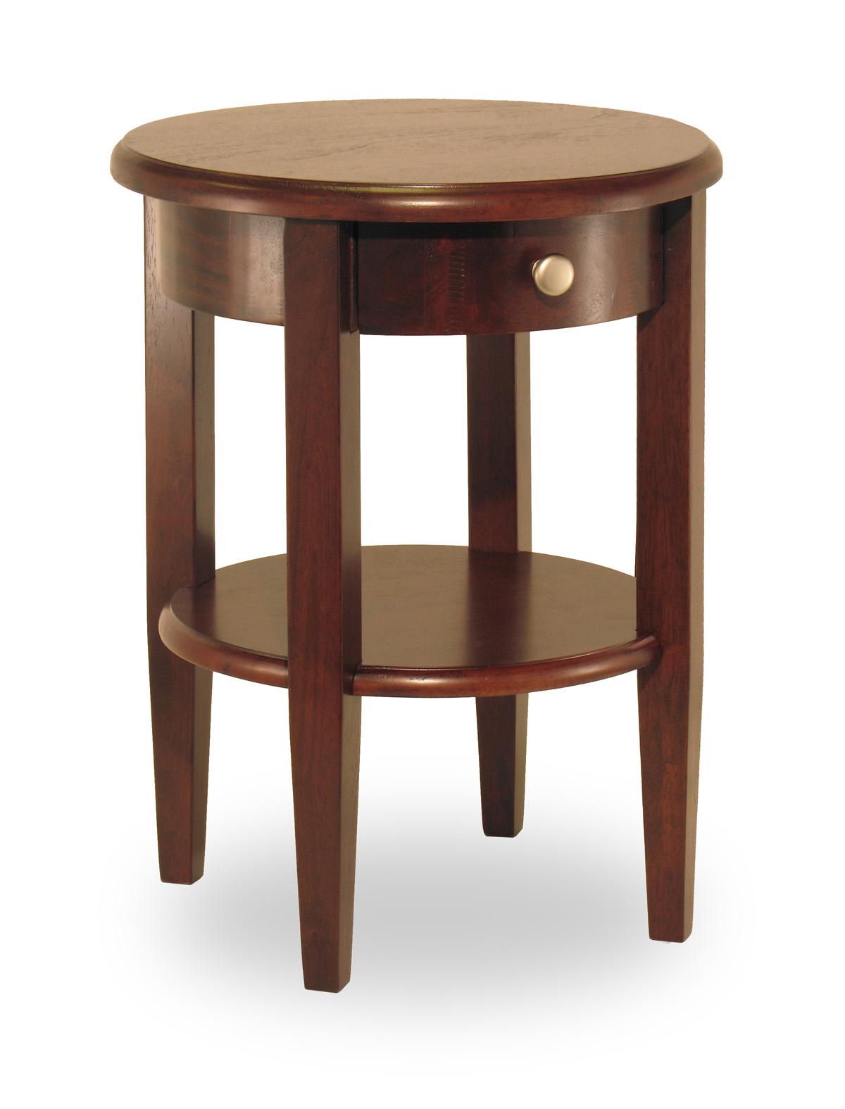 Winsome 94217 Antique Walnut Solid Wood TABLE END TABLE ROUND W/DRAWER SHELF