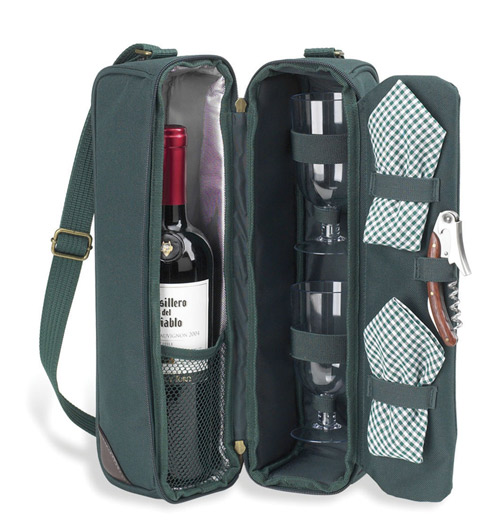 Picnic at Ascot 133-B Classic-Sunset Deluxe Wine Carrier for 2 Blue Gingham