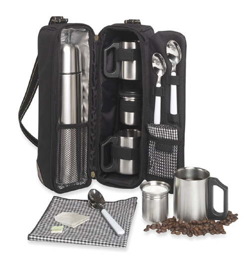 Picnic at Ascot 139-BLK Vienna Coffee Tote for 2 Black Gingham