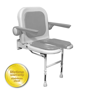 ARC Inc 04260P 4000 Series Shower Seat U-Shaped Padded with Back and Arms - Gray - 23 Inch W