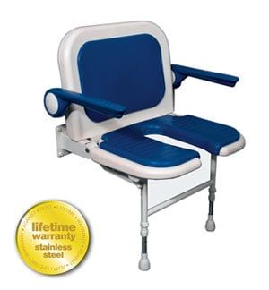 ARC Inc 04150P 4000 Series Shower Seat Wide U-shaped Padded with Back and Arms - Blue - 27.75 Inch W