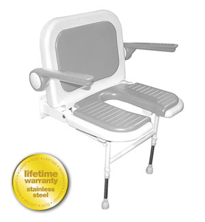 ARC Inc 04250P 4000 Series Shower Seat Wide vU-shaped Padded with Back & Arms v Gray - 27.75 Inch W
