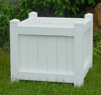 All Maine Bucket D004PW 24 Inch Cube Planter - Painted White