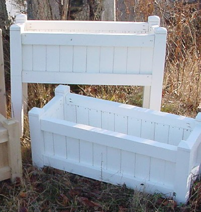 All Maine Bucket D006PW 36 Inch Planter with Tall Legs - Painted White