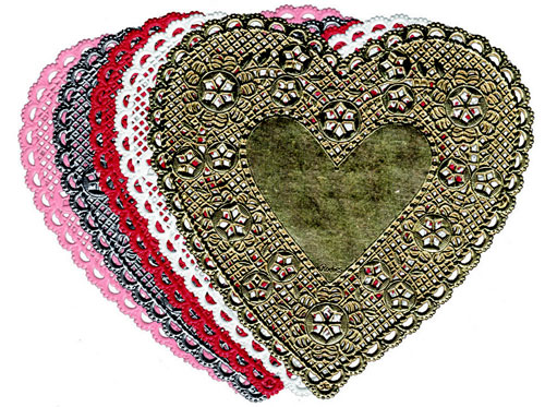 Hygloss Products Hyg91044 Doilies 4 Red Heart-100/Pkg.