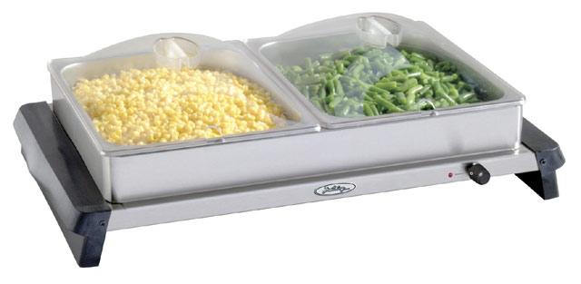 BroilKing NBS-2SP Professional Double Buffet Server  withStainless Base & Plastic Lids