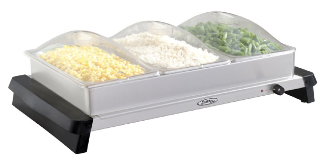 BroilKing NBS-3SP Professional Triple Buffet Server  with Stainless Base & Plastic Lids