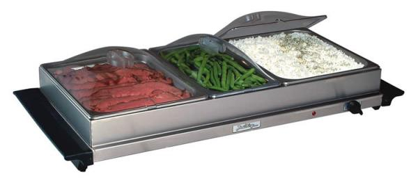 BroilKing NBS-3SLP Professional Family Size Buffet Server with Stainless Base & Plastic Lids