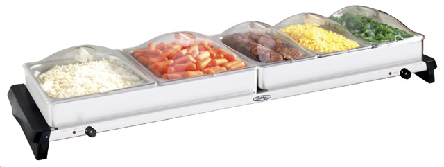 BroilKing NBS-5SP Professional Grand Buffet Server - with Stainless Base & Plastic Lids